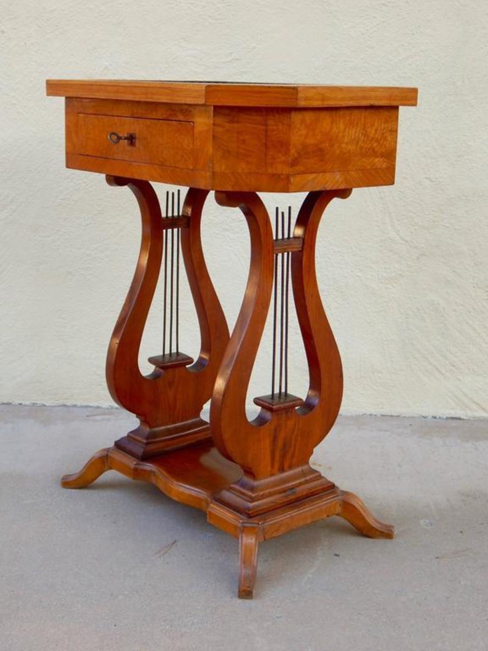 Swedish Art Deco Biedermeier Revival Lyre Table, circa ...